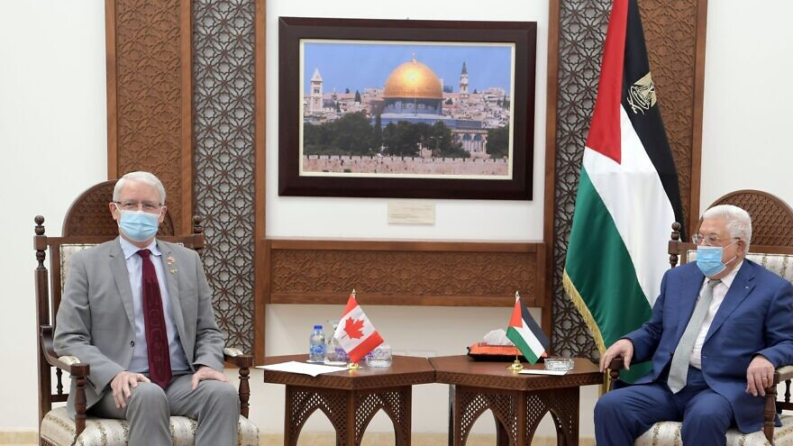 Canadian Foreign Minister Marc Garneau with Palestinian Authority leader Mahmoud Abbas in Ramallah, July 5, 2021. Source: Twitter.