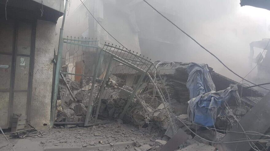 The aftermath of an explosion in the Al-Zaqiya area of Gaza City in the Gaza Strip on July 22, 2021. Source: Twitter.
