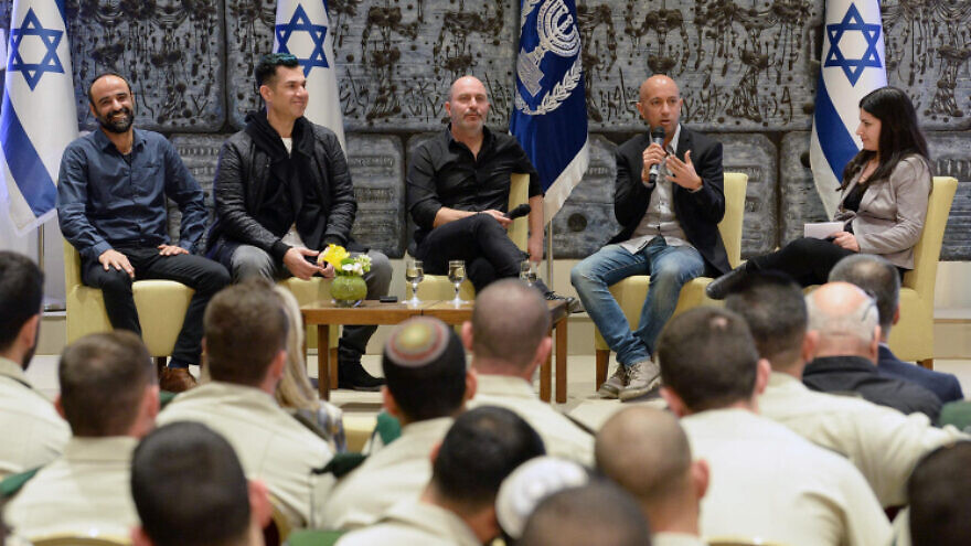 Israeli President Reuven Rivlin hosts the stars of the Israeli series Fauda and members of Israel's special undercover police unit at the President's Residence in Jerusalem, on Feb. 7, 2018. Photo by Mark Neyman/GPO.