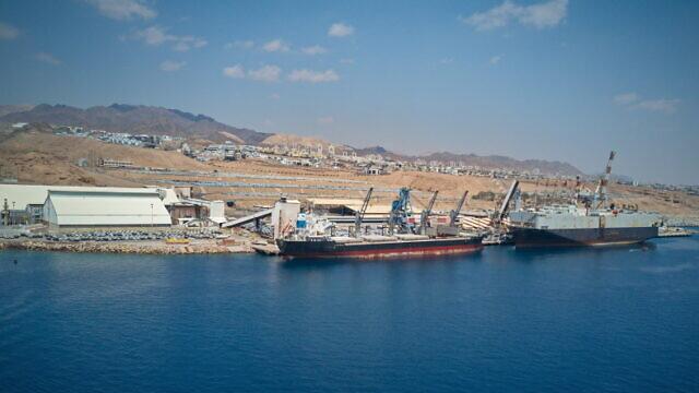 A docked ship in Eilat, April 12, 2018. Photo by Menachem Lederman/Flash90.