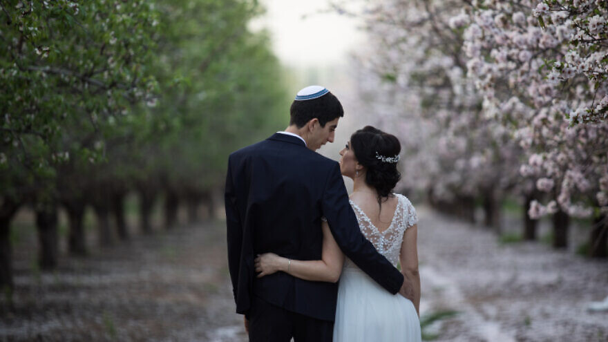 An Israeli couple on their wedding day photoshoot in a blossoming almond tree field in Latrun, near Jerusalem, on February 25, 2019. Photo by Hadas Parush/Flash90.
