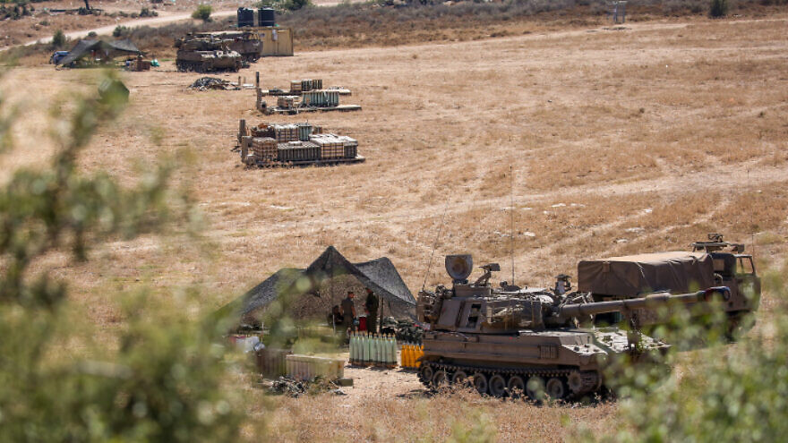 IDF artillery units deployed near the Lebanese border in northern Israel on Aug. 26, 2020. Photo by David Cohen/Flash90.