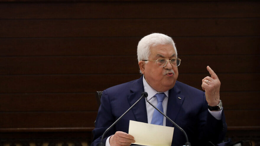 Palestinian Authority leader Mahmoud Abbas speaks during a meeting of the Palestinian leadership in Ramallah, on Sept. 3, 2020. Photo by Flash90.
