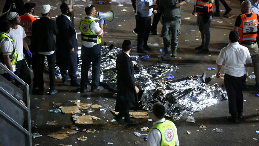 Israeli rescue forces and police at the scene after a mass fatality scene during the celebration of the Jewish holiday of Lag Ba'Omer at Mount Meron in northern Israel, April 30, 2021. Photo by David Cohen/Flash90.