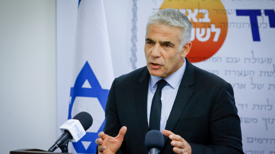 Israeli Foreign Minister Yair Lapid speaks during a Yesh Atid faction meeting at the Knesset on July 5, 2021. Photo by Olivier Fitoussi/Flash90.