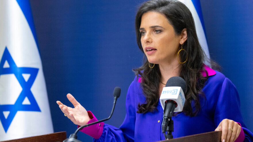 Israeli Interior Minister Ayelet Shaked speaks during a Yamina Party meeting at the Knesset, in Jerusalem, on July 5, 2021. Photo by Olivier Fitoussi/Flash90.