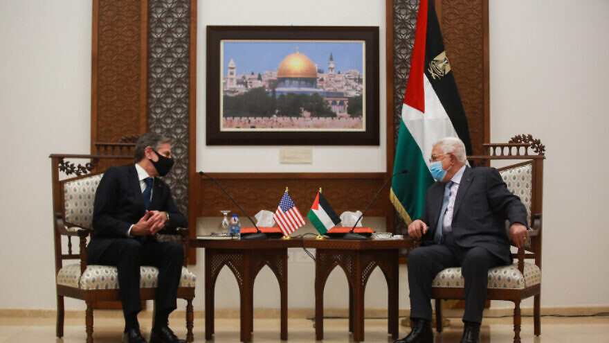 Palestinian Authority leader Mahmoud Abbas meets with U.S. Secretary of State Antony Blinken in Ramallah, May 25, 2021. Photo by Flash90.