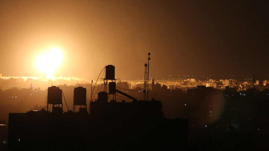 An Israeli airstrike on a Hamas target in the northern Gaza Strip, on June 18, 2021. Photo by Atia Mohammed/Flash90.