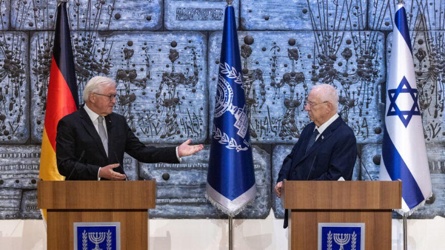 German President Frank-Walter Steinmeier meets with Israeli President Reuven Rivlin at the President's Residence in Jerusalem on July 1, 2021. Photo by Olivier Fitoussi/Flash90.