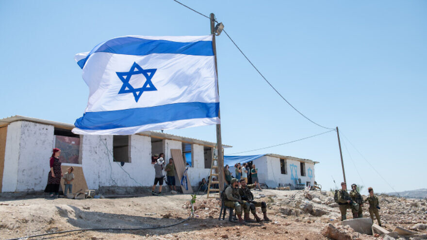 The unauthorized Israeli outpost of Evyatar before its evacuation as part of a deal with the government, July 2, 2021. Photo by Sraya Diamant/Flash90.