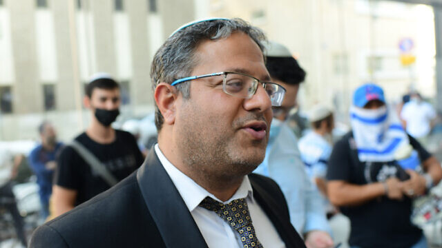 Itamar Ben-Gvir, head of the Otzma Yehudit Party, demonstrates outside the Facebook branch in Tel Aviv on July 15, 2021. Photo by Tomer Neuberg/Flash90.