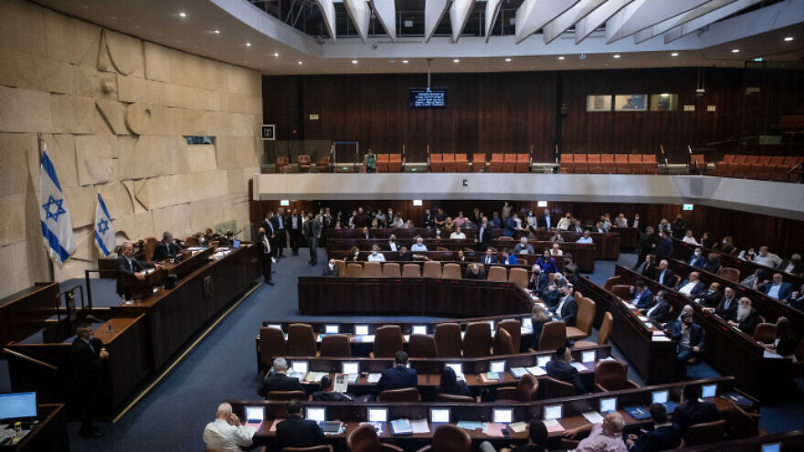 A plenum session in the Knesset on July 6, 2021. Photo by Yonatan Sindel/Flash90.