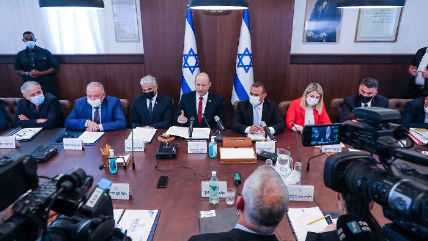 Israeli Prime Minister Naftali Bennett leads a Cabinet meeting at the Prime Minister's Office in Jerusalem on July 11, 2021. Photo by Marc Israel Sellem/POOL.