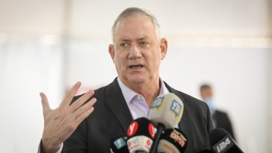 Israeli Defense Minister Benny Gantz, seen here on July 12, 2021, updated his French counterpart on an initial assessment of NSO Group. Source: Flash90