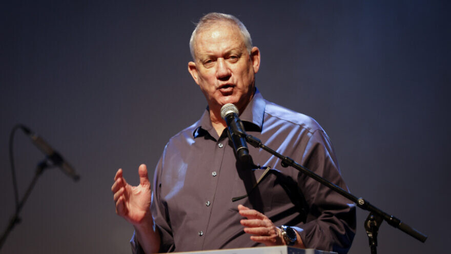 Israeli Minister of Defense Benny Gantz attends a conference for retired Israelis in the Eshkol region in southern Israel, on July 13, 2021. Photo by Flash90.