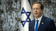 Israeli President Isaac Herzog speaks at a memorial ceremony for past Israeli premiers and presidents, at the President's Residence in Jerusalem on July 21, 2021. Photo by Yonatan Sindel/Flash90.