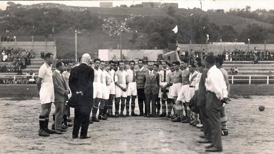 In Kaunas, Lithuania, a football match between HaKoach Vienna and the local Maccabi team, on Jan. 8, 1925. Credit: Yad Vashem Photo Archives.