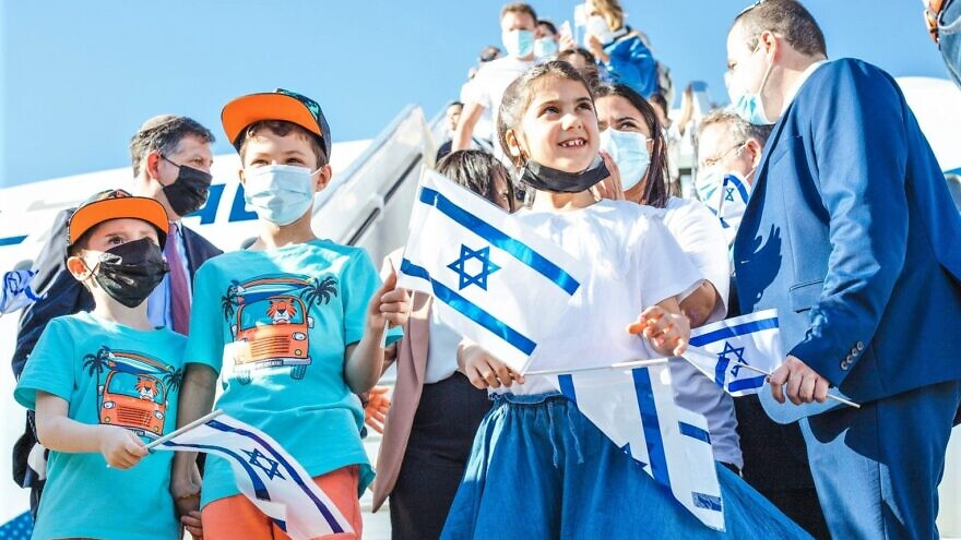 Children from France arrive in Israel as part of a group aliyah flight on July 21, 2021. Photo by Noga Malsa.