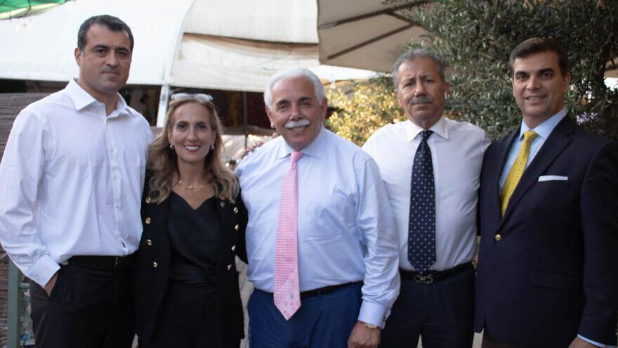 Members of an Iranian delegation to Israel in July 2021 (from left) Ahmad Batebi, Ellie Cohanim, Amir Hamidi, Foad Pashai and Ben Tabatabaei. Photo by David Isaac.