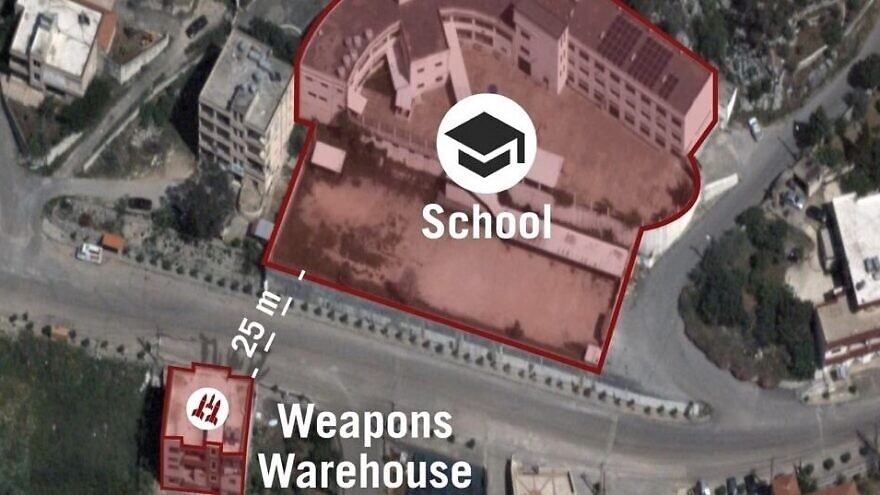 A Hezbollah weapons warehouse adjacent to a school in Lebanon. Source: IDF/Twitter.
