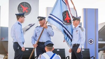 Israeli Air Force Commander Maj. Gen. Amikam Norkin (center) at a ceremony marking the launch of the 117 Squadron, July 1, 2021. Credit: IAF.