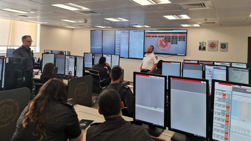 Israel's National Fire and Rescue Authority dispatchers training on the new system designed for the Authority by Magen David Adom, July 2021. Credit: Courtesy.