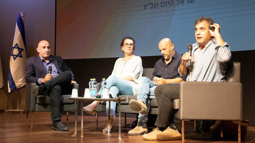 From left: Brig. Gen. (res.) Amir Avivi, director of Habithonistim; Irit Linur, Israel Hayom columnist; Shabtai Bandat, Peace Now activist; and Jackie Levi, moderator and Israel Hayom columnist. Photo by David Isaac.