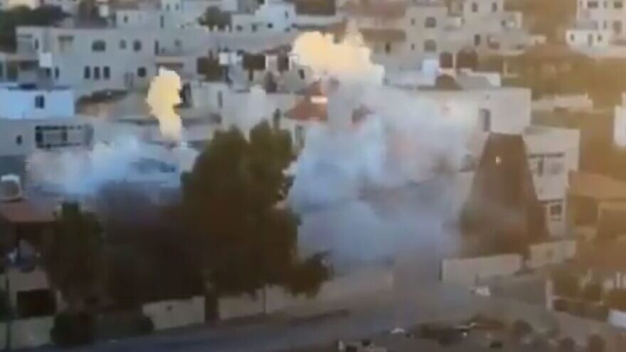 The Israel Defense Forces demolishes the home of accused terrorist Muntasir Shalabi in the village of Turmus Ayya, July 8, 2021. Source: Twitter.