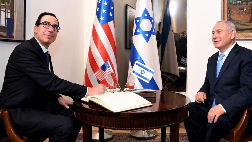 U.S. Treasury Secretary Steve Mnuchin with Israeli Prime Minister Benjamin Netanyahu at the inauguration of the newly relocated U.S. embassy in Jerusalem, May 13, 2018. Credit: Wikimedia Commons.