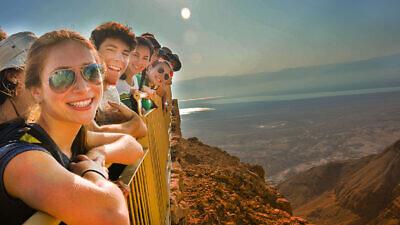 Teens visiting Israel at the overlook on Masada. Credit: Courtesy.