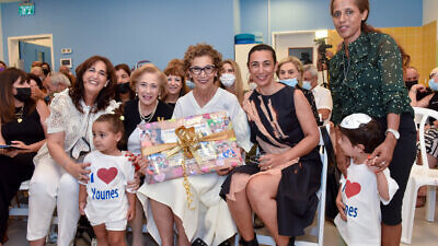 Soraya Nazarian (center) and her daughter, Dr. Sharon Nazarian (right), and WIZO president Esther Mor (center left) and WIZO chairperson Anita Friedman (left) at a ceremony dedicating the new day-care center in Tel Aviv. Credit: Courtesy.