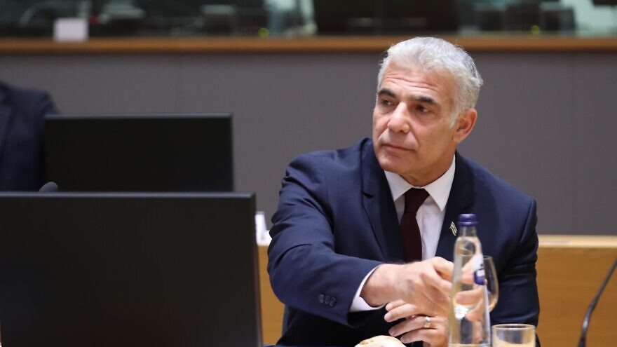 Israeli Foreign Minister Yair Lapid at a meeting of the E.U. Foreign Affairs Council, July 12, 2021. Source: European Union.