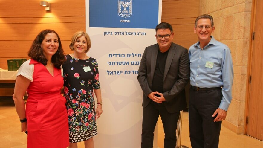 From left: Michal Berman, CEO of the Lone Soldier Center; Ayelet Levin; Knesset member Michael Biton; and Mark Levin (parents of Michael Levin). Photo by Yonit Schiller.