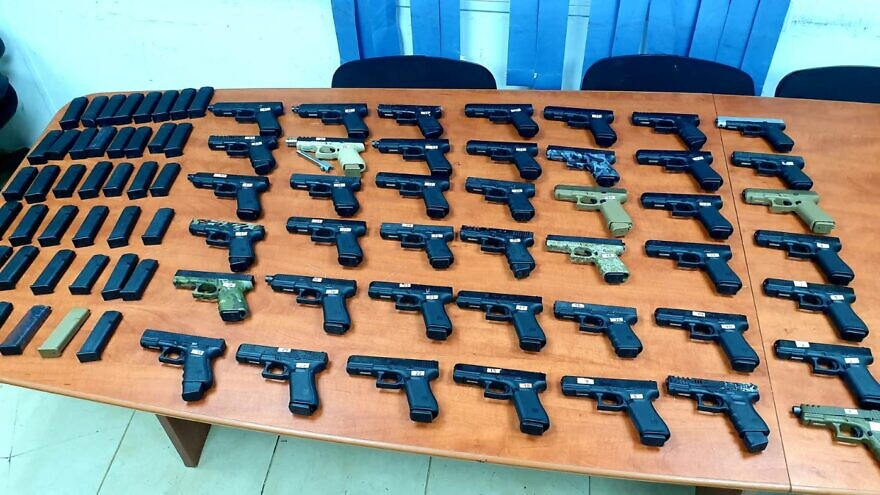 Smuggled weapons confiscated by the Israel Defense Forces during a bust in northern Israel, July 9, 2021. Source: IDF.