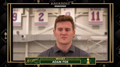 New York Rangers Adam Fox receiving the Norris Trophy. Source: Screenshot.
