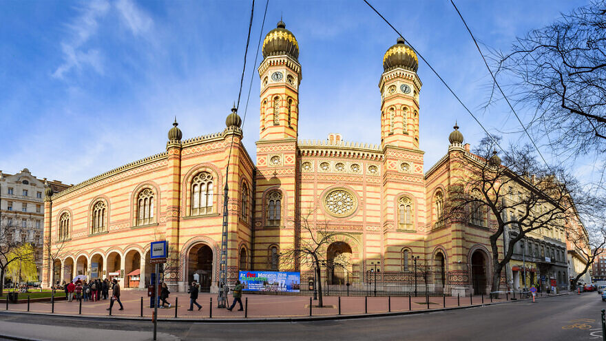 Panoramic view of the Great Synagogue in Dohany Street. The Dohany Street Synagogue (Tabakgasse Synagogue) is the largest synagogue in Europe. Budapest, Hungary. Credit: Pit Stock/Shutterstock.
