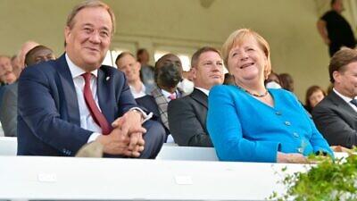 Armin Laschet, leader of the Christian Democratic Union, with German Chancellor Angela Merkel. Source: Armin Laschet/Facebook.