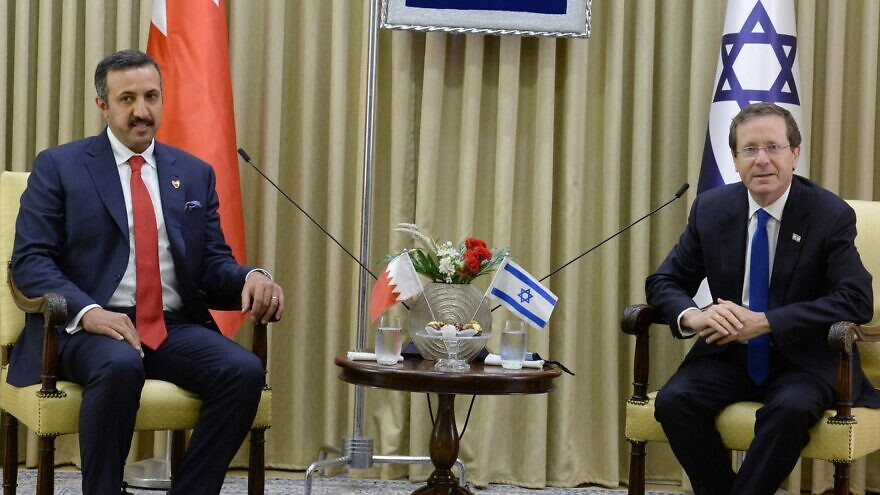 Bahrain's Sheikh Abdullah bin Ahmed Al Khalifa meets Israeli President Isaac Herzog meet in Jerusalem, Aug. 8, 2021. Photo by Mark Neiman/GPO.