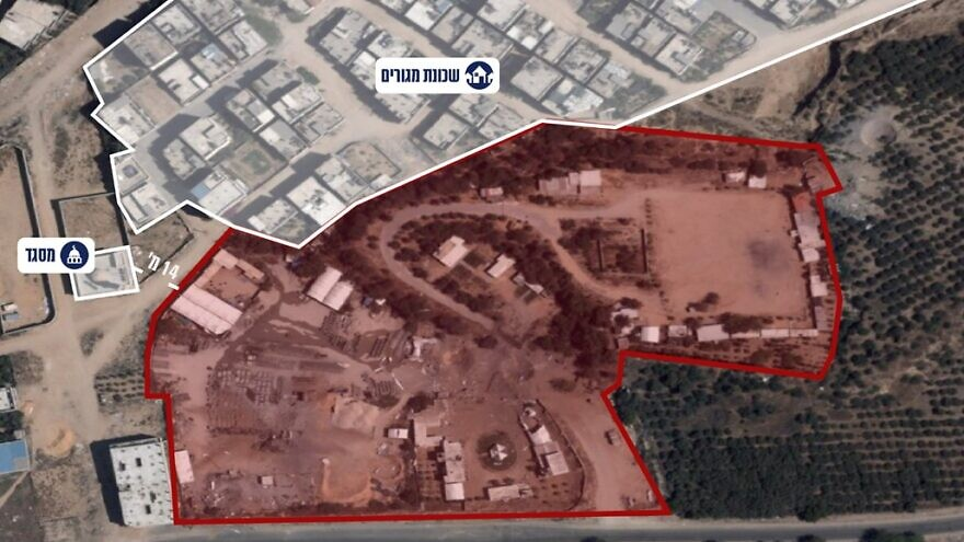 A Hamas compound (in red) struck by the IDF on Aug. 7, 2021, adjacent to a residential area (top) and mosque (top left) in the Gaza Strip. Credit: Israel Defense Forces.