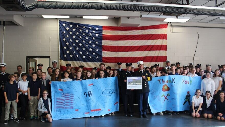 Students from Bi-Cultural Hebrew Academy (CT) present 'thank you' banners to the Stamford Fire Department