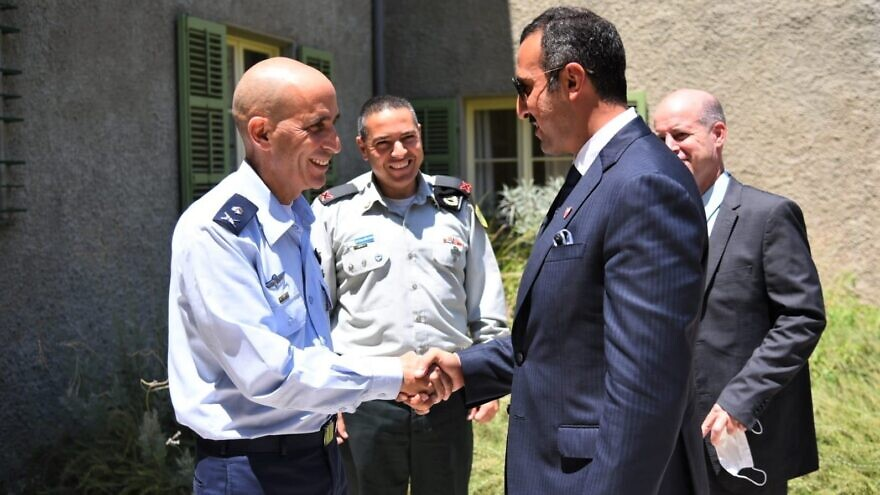 As part of a state visit to Israel, Bahrain's undersecretary of the Ministry of Foreign Affairs for Political Affairs and deputy secretary-general of the Supreme Defense Council visited the Israel Defense Forces on Aug. 10, 2021. Credit: IDF Spokesperson's Unit.