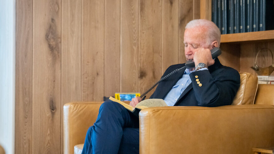 U.S. President Joe Biden on the phone with Secretary of State Antony Blinken, Secretary of Defense Lloyd Austin and National Security Advisor Jake Sullivan about ongoing efforts to safely drawdown the civilian footprint in Afghanistan. Source: White House/Twitter.