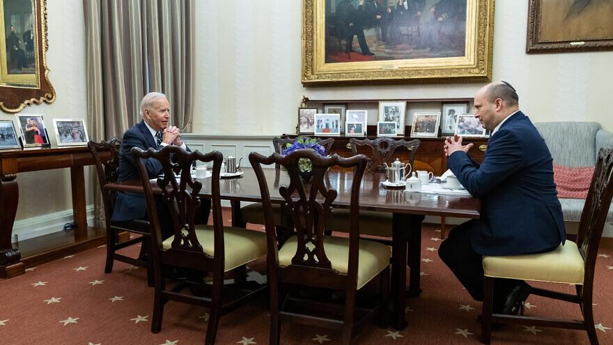 U.S. President Joe Biden with Israeli Prime Minister Naftali Bennett in the Roosevelt Room at the White House on Aug. 27, 2021. Source: Embassy of Israel/Twitter.