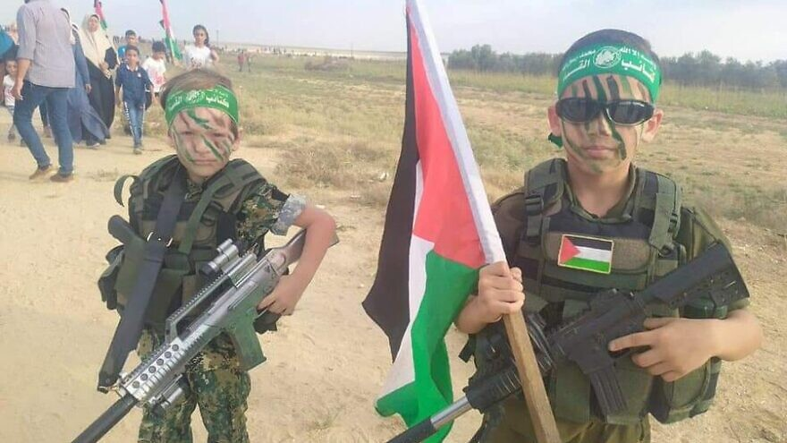 Children in Gaza participate in Hamas-instigated riots along the Israeli border,  Aug. 24, 2021. Source: Twitter.