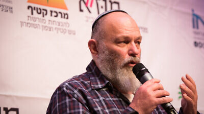 Effi Eitam speaks during the Gush Katif conference at the Tel Aviv Museum on March 23, 2017. Photo by Yossi Zeliger/Flash90.