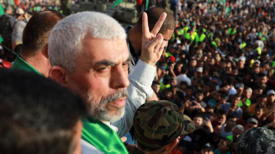 Hamas leader Yahya Sinwar at a rally in Beit Lahiya on May 30, 2021. Photo by Atia Mohammed/Flash90.