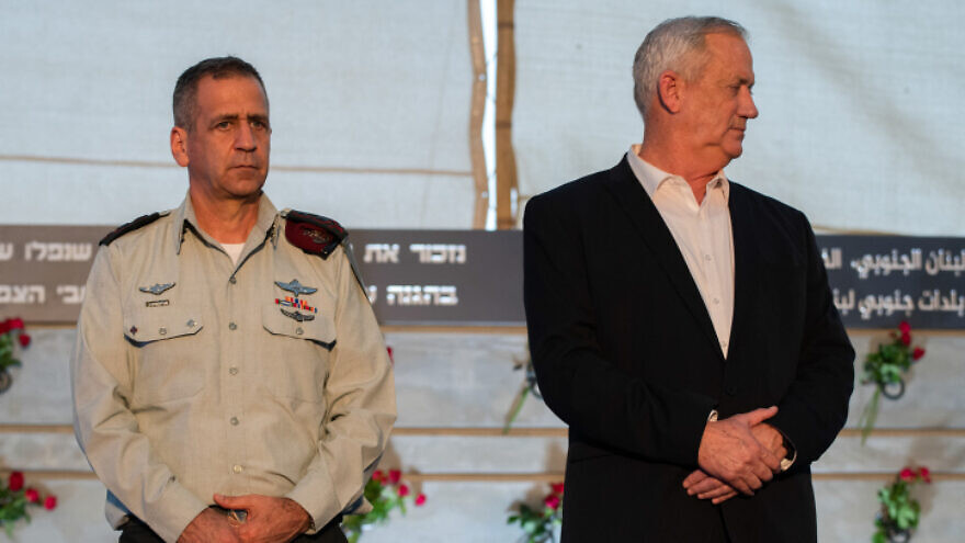 IDF Chief of Staff Lt. Gen. Aviv Kochavi and Israeli Minister of Defense Benny Gantz at a ceremony for a new monument in memory of fallen soldiers of the South Lebanon Army (SLA), in Metula, in northern Israel, on July 4, 2021. Photo by Basel Awidat/Flash90.