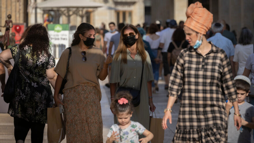 Shoppers at the Mamilla Mall in Jerusalem on July 19, 2021. Photo by Olivier Fitoussi/Flash90.