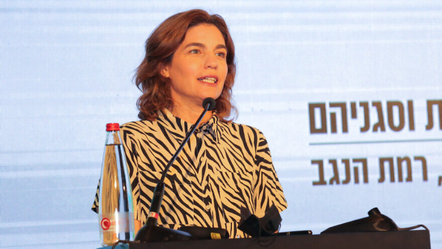 Minister of Environmental Protection Tamar Zandberg speaks during a Conference of Heads of Local Authorities, in Ramat Negev, southern Israel, July 22, 2021. Photo by Flash90
