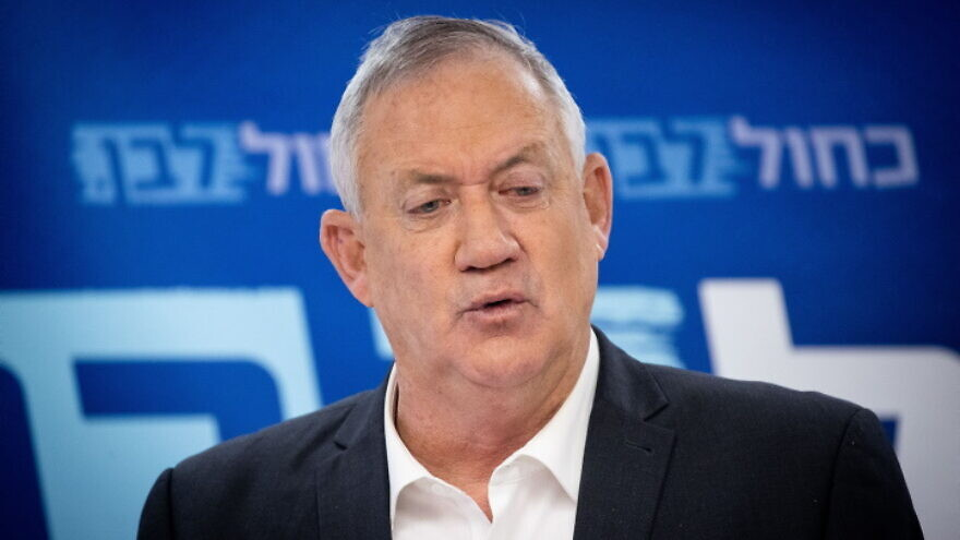 Israeli Defense Minister Benny Gantz leading a Blue and White party meeting at the Knesset on July 26, 2021. Photo by Yonatan Sindel/Flash90